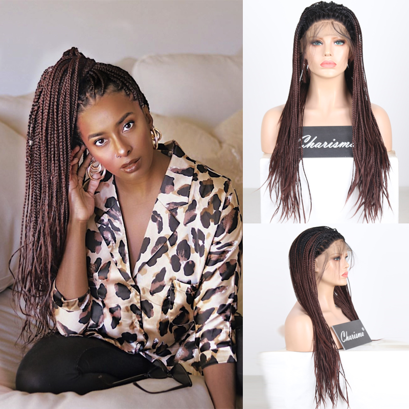 Charisma Long Ombre Dark Brown Wig Free Part Braided Wig Synthetic Lace Front Wig For Black Women Box Braids Wigs With Baby Hair