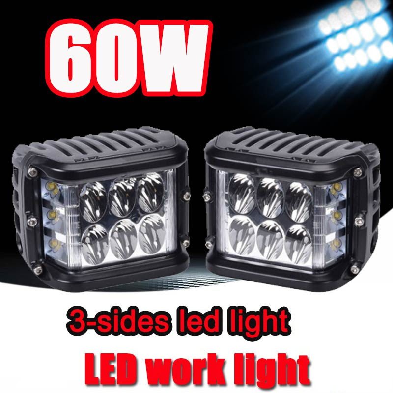 Led Bar Offroad 4X4 60W 4Inch Work Light Three Rows Dually Side Auto Spotlight Flood Combo 12 Volt For Car ATV Boat Fog Lamps
