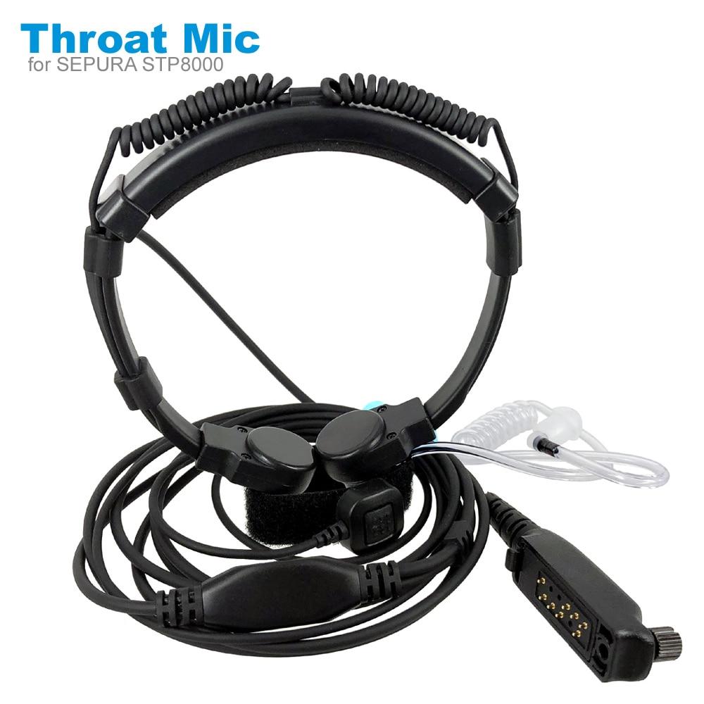 Telescopic Throat Vibration Mic For Sepura STP8000 STP8030 STP8035 STP8038 STP8040 STP8080 Walkie Talkie Headset Earpiece