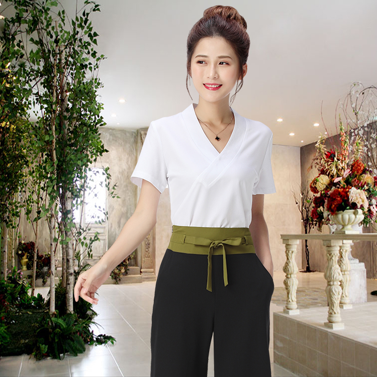 Women Fashion Medical Uniforms Beautician Spa Tunic Suit Cross V Neck Top Short Sleeve Or Half Sleeve And Broad-legged Pants