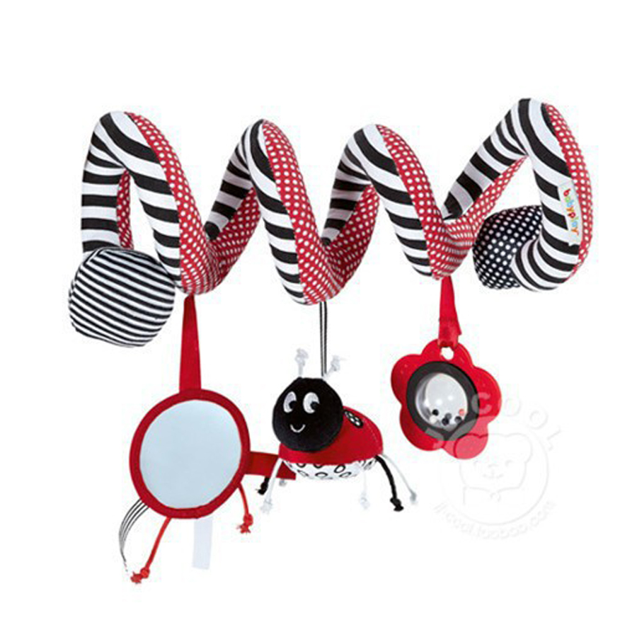 Beetle Stroller Rattle Multinational Baby Toys Learning Education Bed Mobile Bell With Safety Mirror For 0-12M WJ136