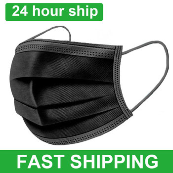 Black Face Mask Disposable Mascarilla 3 Layer Ply Filter Meltblown Mouth Mask Black Safe Breathable Dustproof Protective Masks