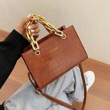 Corrente de ouro padrão pedra couro crossbody sacos para mulheres designer pequenas bolsas de ombro bolsa mensageiro mini bolsas