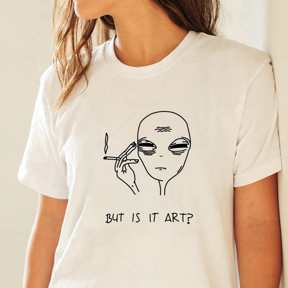 100% Cotton Novelty Alien Shirt Tired Alien But Is It <font><b>Art</b></font> <font><b>Tshirt</b></font> with Funny Saying Aesthetic E Girl Summer Top Tees image