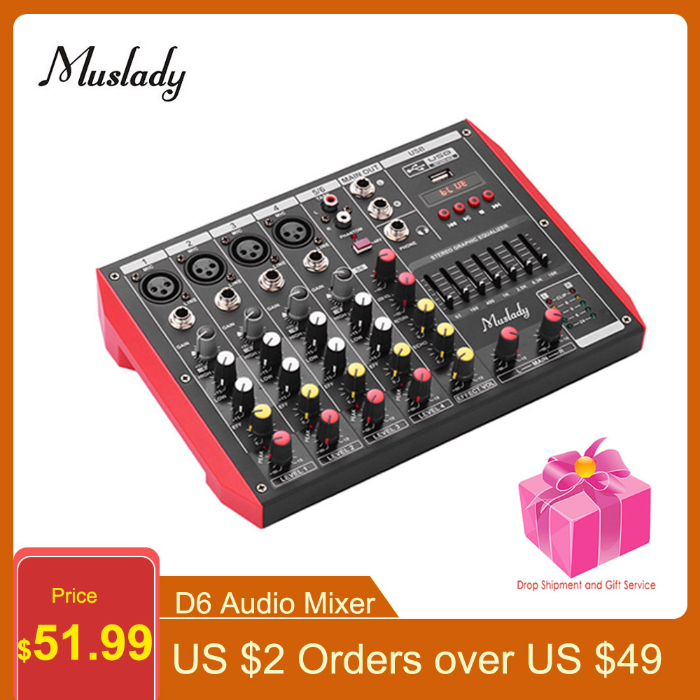 Muslady D6 Audio Mixer Portable 6-Channel Mixer 7-band EQ Mixer Audio Built-in 48V Phantom Power Supports Midi/USB/MP3 Player