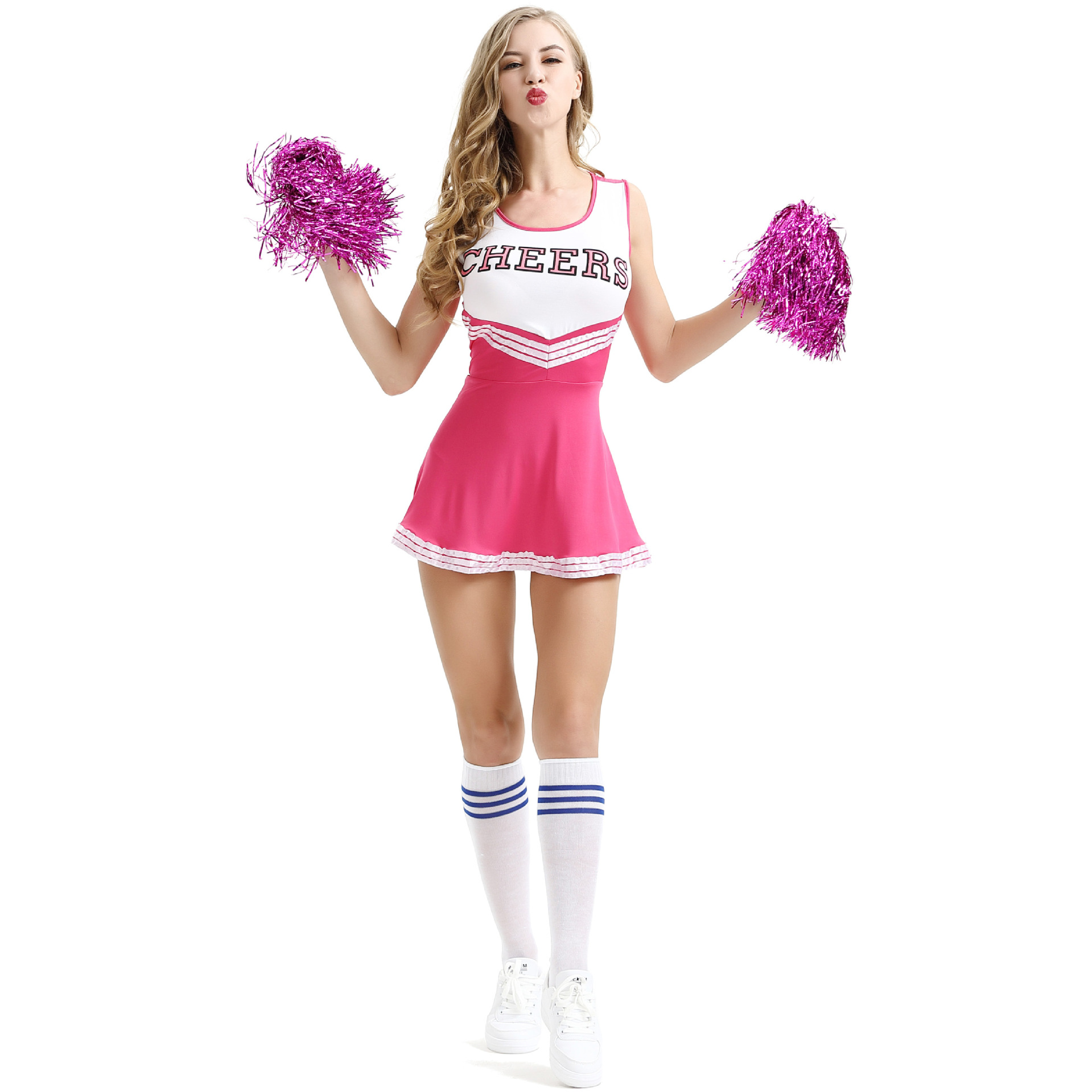 Girl Dancing Show Cheerleader Stage Performance Red Dress+Pompoms Cheerleading Costumes Adult High School Cheer Uniform