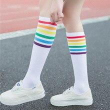 20# зимние женские облегающие высокие носки выше колена Радужная полосатая Футбольная Одежда для девочек спортивные носки черные белые calcetines mujer