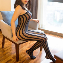 Body Sexy a rayas de talla grande para mujer, lencería erótica de malla de entrepierna abierta transparente, disfraces sexuales