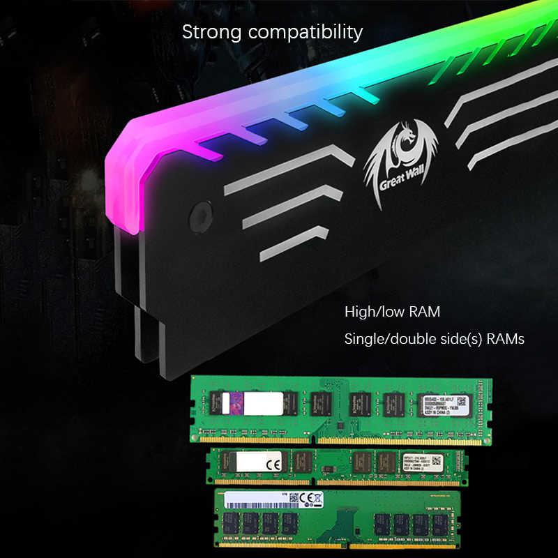 Great Wall 3PIN di Memoria di Raffreddamento Della Maglia 256 RGB Luce Automatica Del Radiatore CPU del dispositivo di Raffreddamento di Alluminio del Dissipatore di Calore per Computer di RAM DDR3 DDR4