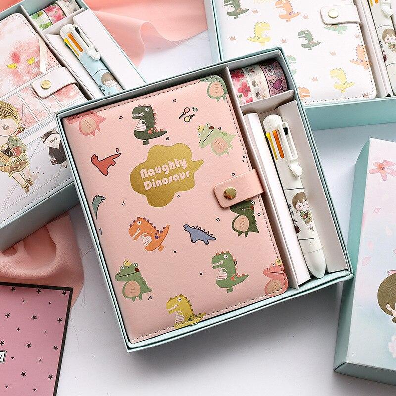 Kawaii Notebook PU Cute Journal Handbook washi Tape Pen Set School Stationery School Office Schedule Stationery Gifts