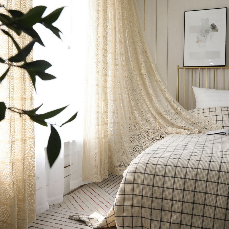 Image 3 - Modern Openwork Lace Curtains for Living Room Beige/White Knit Hollow out Window Drapes for Balcony Can Be TableCloth X M181#40Curtains   -
