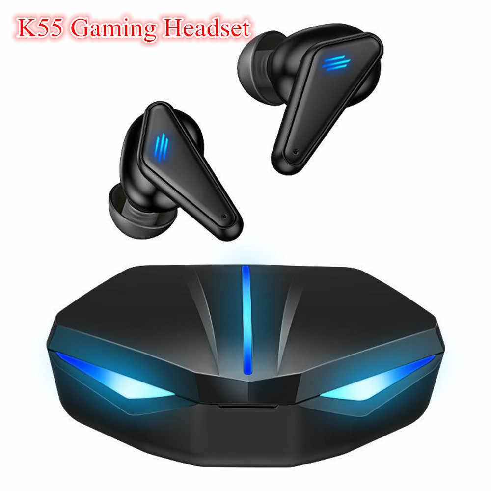 K55 TWS kablosuz Bluetooth kulaklık oyun kulaklık kulakiçi süper bas LED  ışık ile düşük gecikme ses konumlandırma|Bluetooth Kulaklık & Kulaklıklar