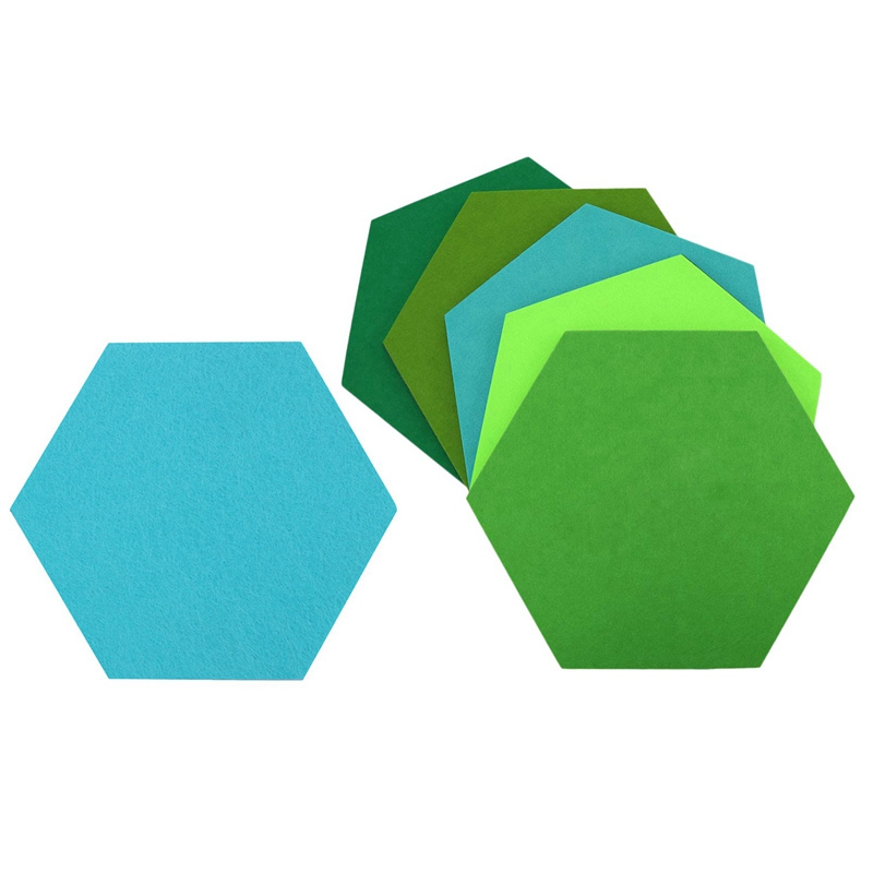 10 Pcs Hexagon Felt Board Hexagonal Felt Wall Sticker Multifunction 3D Decorative Home Message Board Self-Adhesive Kids Room Bas