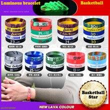 Bracelet Light-Up Sports Glow-In-The-Dark Silicone Basketball-Star Man Rubber 5pcs Souvenir