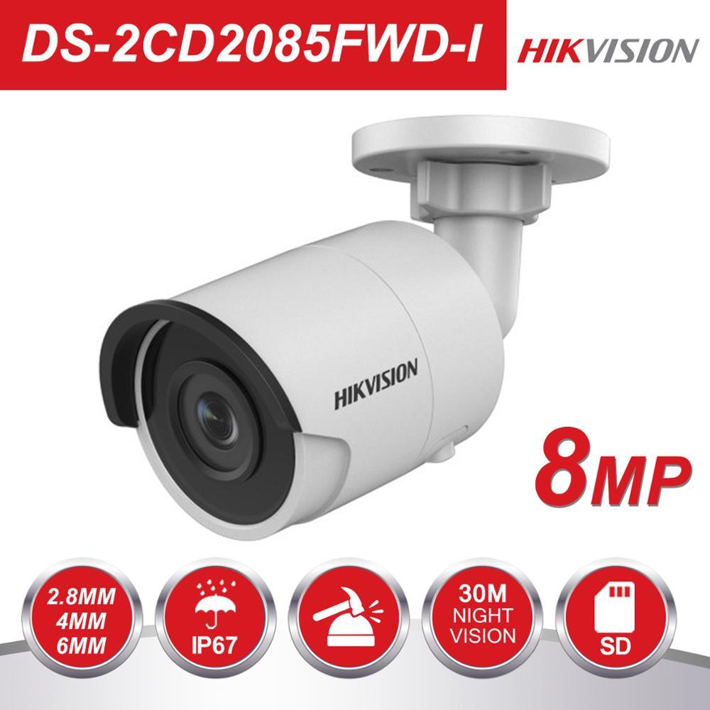 Hikvision bala 8mp câmera ip 4 k DS-2CD2085FWD-I ao ar livre 8 megapixel cmos câmeras de vigilância por vídeo poe 30m ir sd slot para cartão