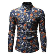 Flower Social Shirt for Men Long sleeve Casual Dress Floral Blouse Mens Clothing Black blue