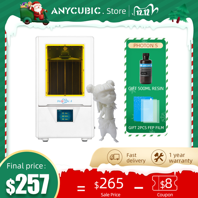 ANYCUBIC Photon S 3dเครื่องพิมพ์500MLเรซิ่น2PCS FEP LCD 3Dเครื่องพิมพ์Low Power SLA 3dชุดเครื่องพิมพ์UV Light Impresora 3d