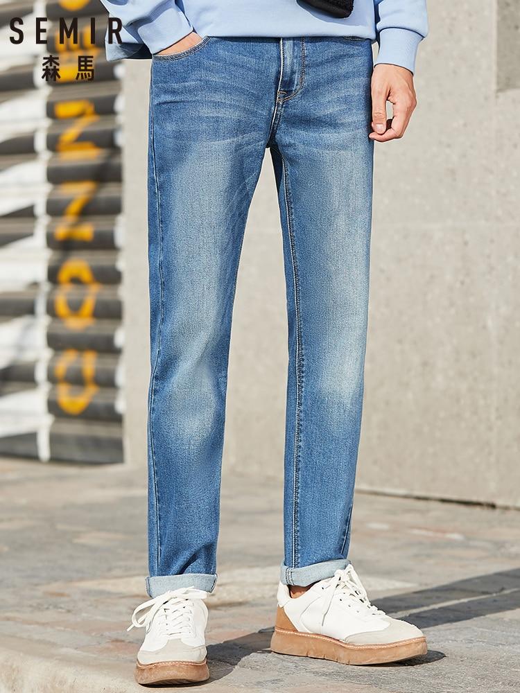 SEMIR New Denim Trousers Men Brand Hit Color Clothes White Slim Feet Pants Comfortable Stretch Student Pants Men