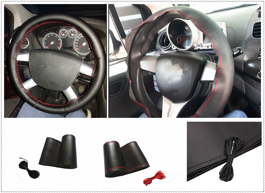 38CM DIY car steering <font><b>wheel</b></font> cover soft leather braided needle accessories for Mercedes Benz W211 W203 W204 W210 <font><b>W124</b></font> AMG image