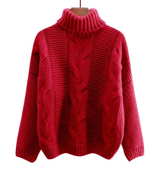 Autumn Winter Short Sweater Women Knitted Turtleneck Pullovers Casual Soft Jumper Fashion Long Sleeve Pull Femme 11