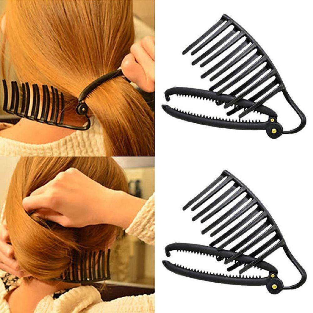 Magic Women Diy Hair Styling Tool Bun Comb Clip Ponytail Holder Accessories For Hair French Twist Maker Hairdress Black