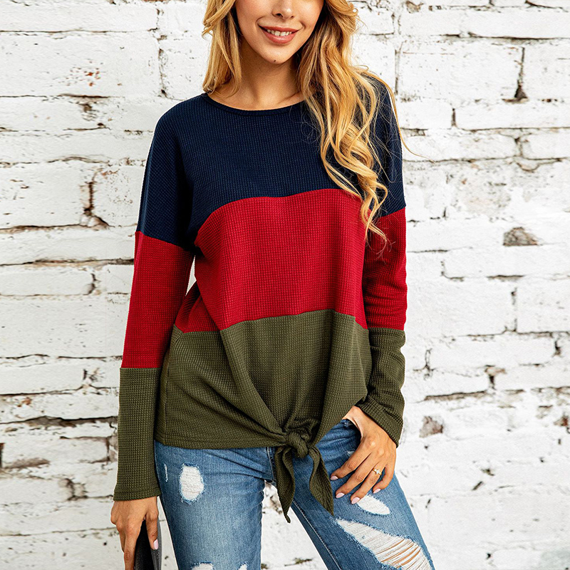 UZZDSS Patchwork Bandage Long Sleeve Blouses Casaul Women O-Neck Shirts Female Autumn Fashion Basic Blusas Streetwear