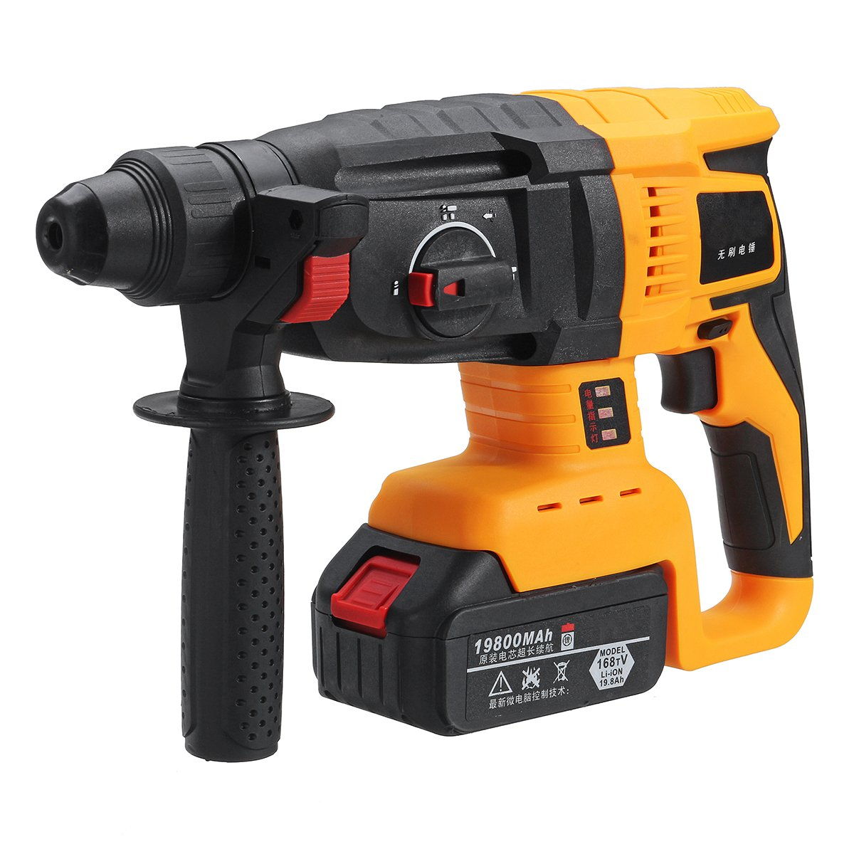 Industrial Multifunction Rechargeable 110-240V Electric Cordless Brushless Hammer Impact Power Drill with 1 or 2 Lithium Battery