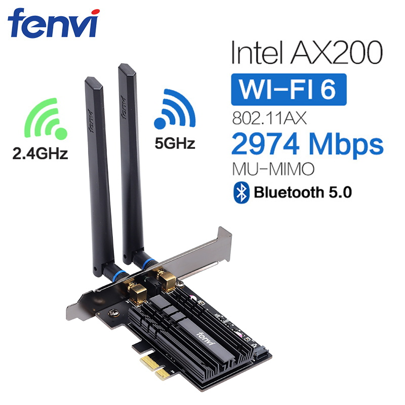 Dual Band 2400Mbps Wifi 6 AX200NGW PCI-E 1X Network Card For Intel AX200 2.4G/5Ghz 802.11ac/ax Bluetooth 5.0 Wireless Adapter