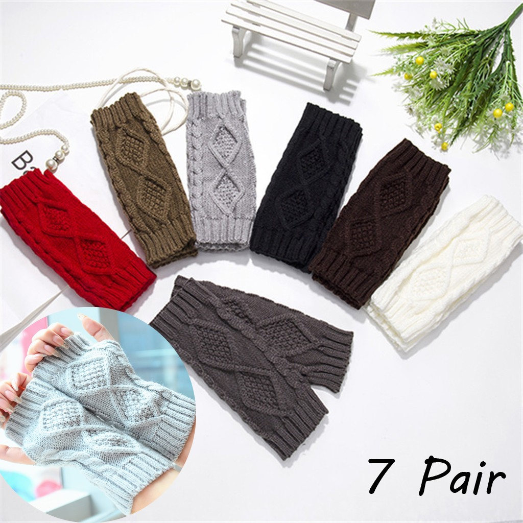7 Pair Autumn Winter Women Knit Gloves Arm Wrist Sleeve Hand Warmer Girls Rhombus Long Half Winter Mittens Fingerless Gloves