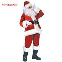 VEVEFHUANG Adult Christmas Santa Claus Costume Suit Plush Father Fancy Clothes Xmas Cosplay Props Men Coat Pants Beard Belt Hat