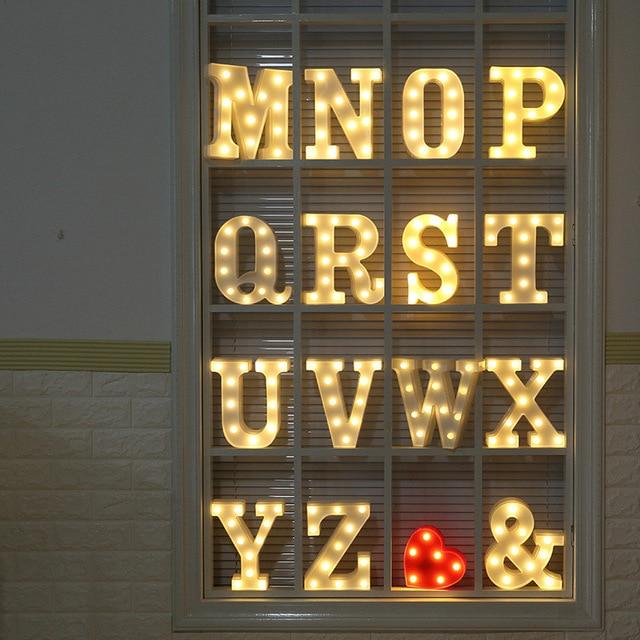 DIY Letter Symbol Sign Heart Plastic LED Lights Desk Decor Letters Ornament for Wedding Valentine's Day Gift Home Decoration 4