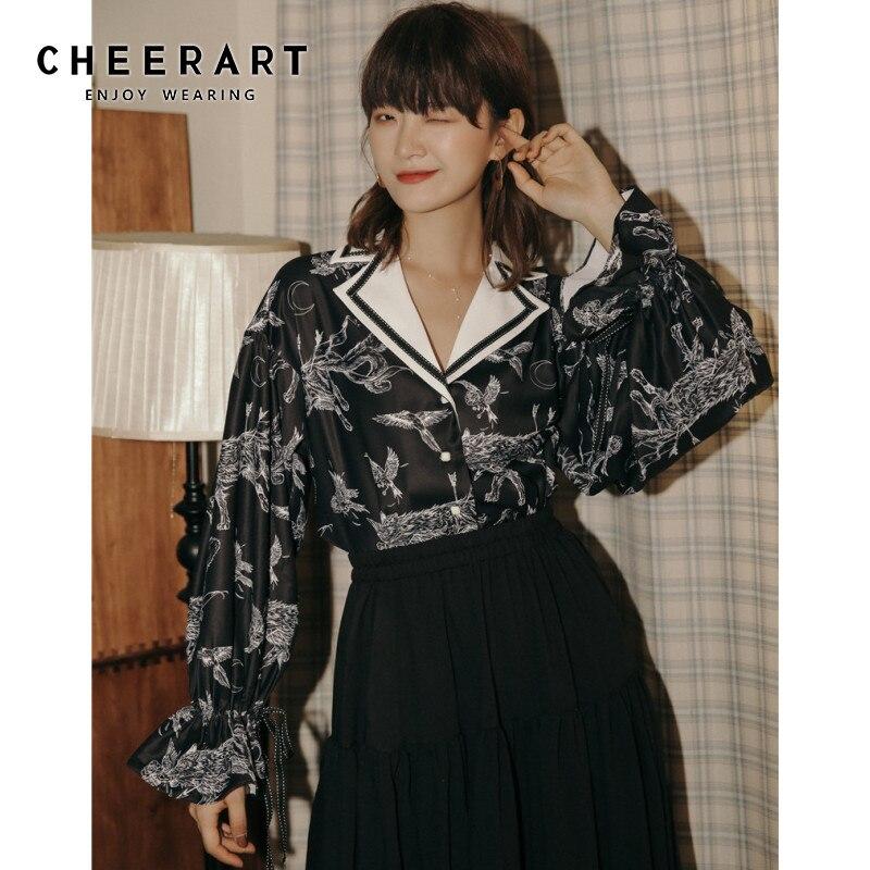 Женская винтажная блузка с длинным рукавом CHEERART, дизайнерская рубашка с отложным воротником с животным принтом и Расклешенным рукавом, топ для девушек 2020 Блузки и рубашки      АлиЭкспресс