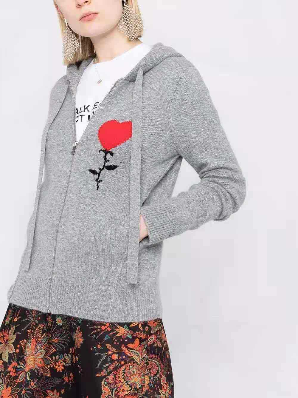 Red Heat Letters Embroidered Women Knitted Hooded Cardigan 2021 New Long Sleeve Gray Zipper Sweater Outwear Tops