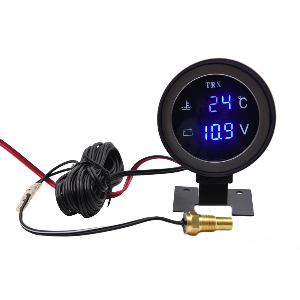 1chenpaif 2V 24V Coche LCD Medidor de Temperatura del Agua Term/ómetro Volt/ímetro Medidor 2in1 Medidor de Temperatura y Voltaje Sensor de 17 mm