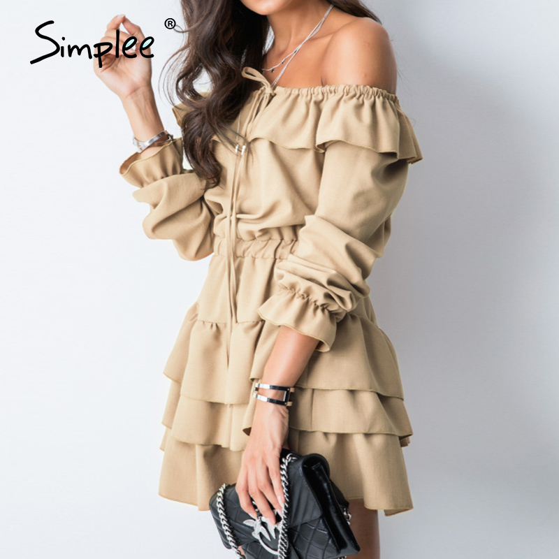 Simplee Sexy off shoulder women summer dress Elegant ruffle solid female short party sundress Casual A line ladies mini dresses