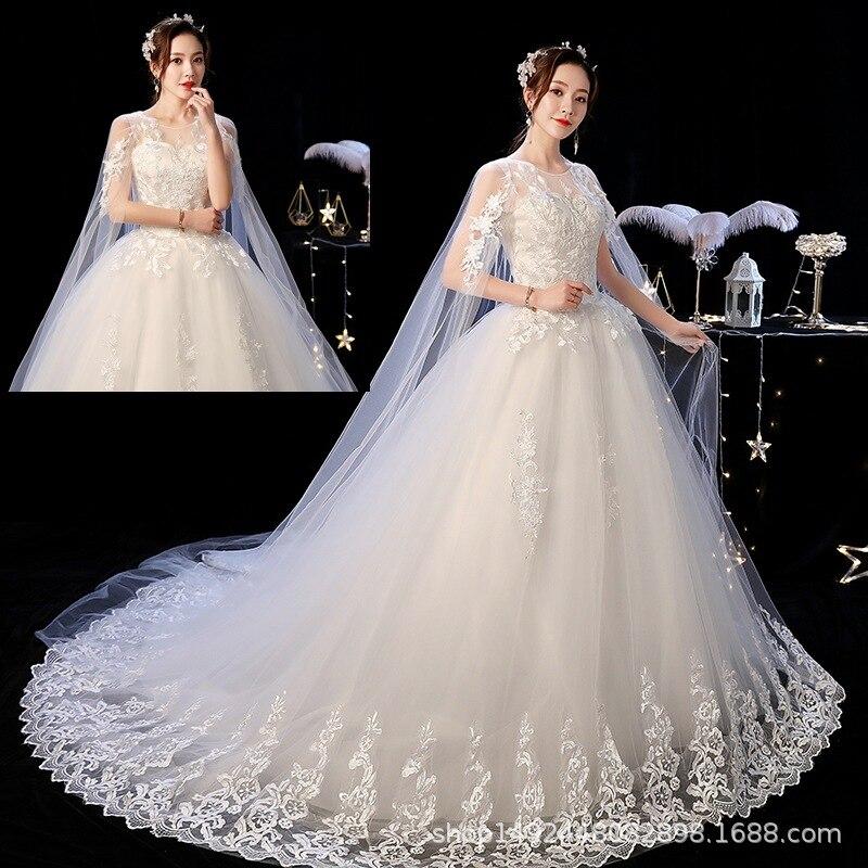 Suzhou Huqiu Wedding Dress Trailing Wedding Dress 2019 New Style Wedding Dress Trailing Wedding Dress Off-Shoulder Wedding Dress