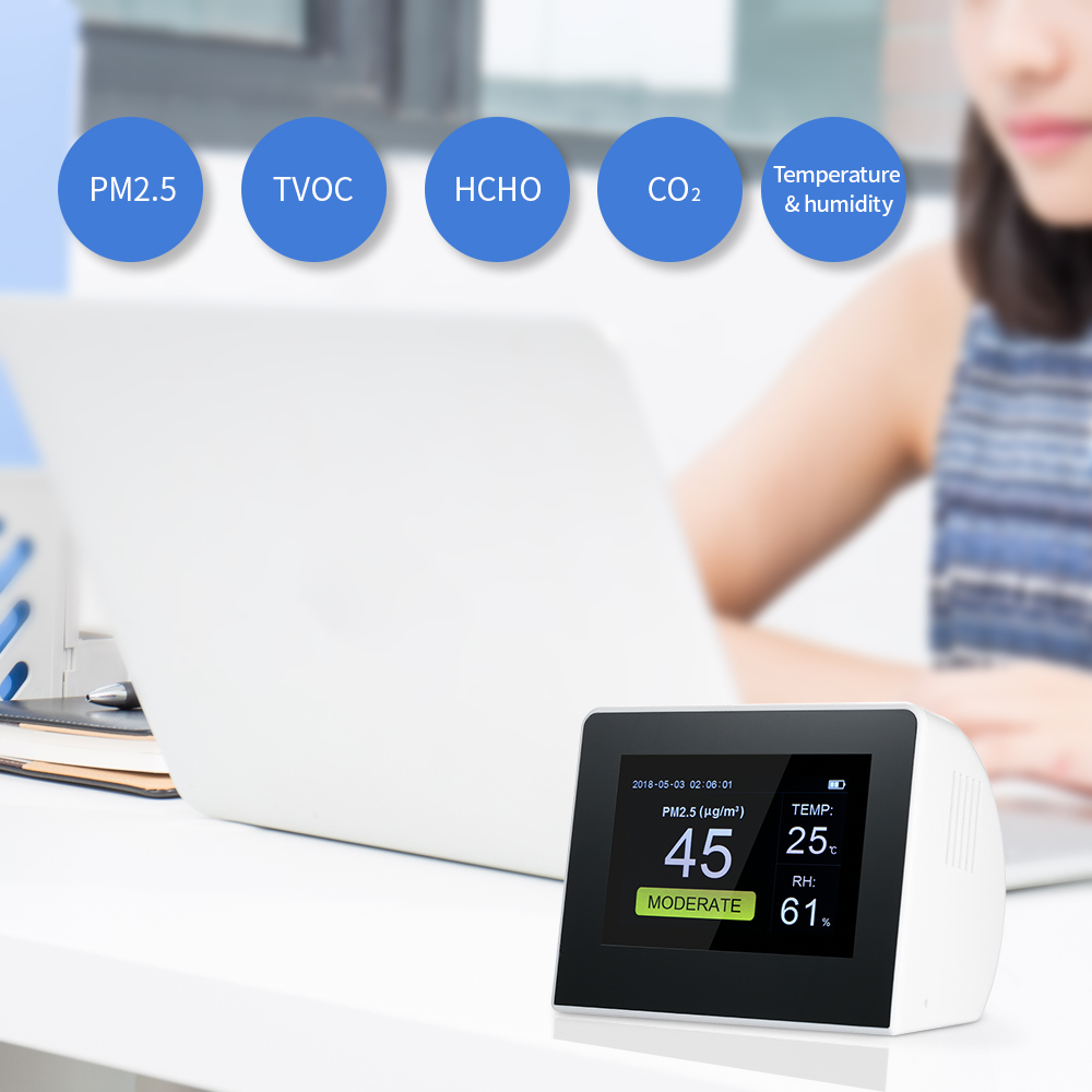 Multifunctional Air Quality Detector Indoor/Outdoor Digital HCHO & TVOC Tester CO2 Meter Monitor with Rechargeable Battery
