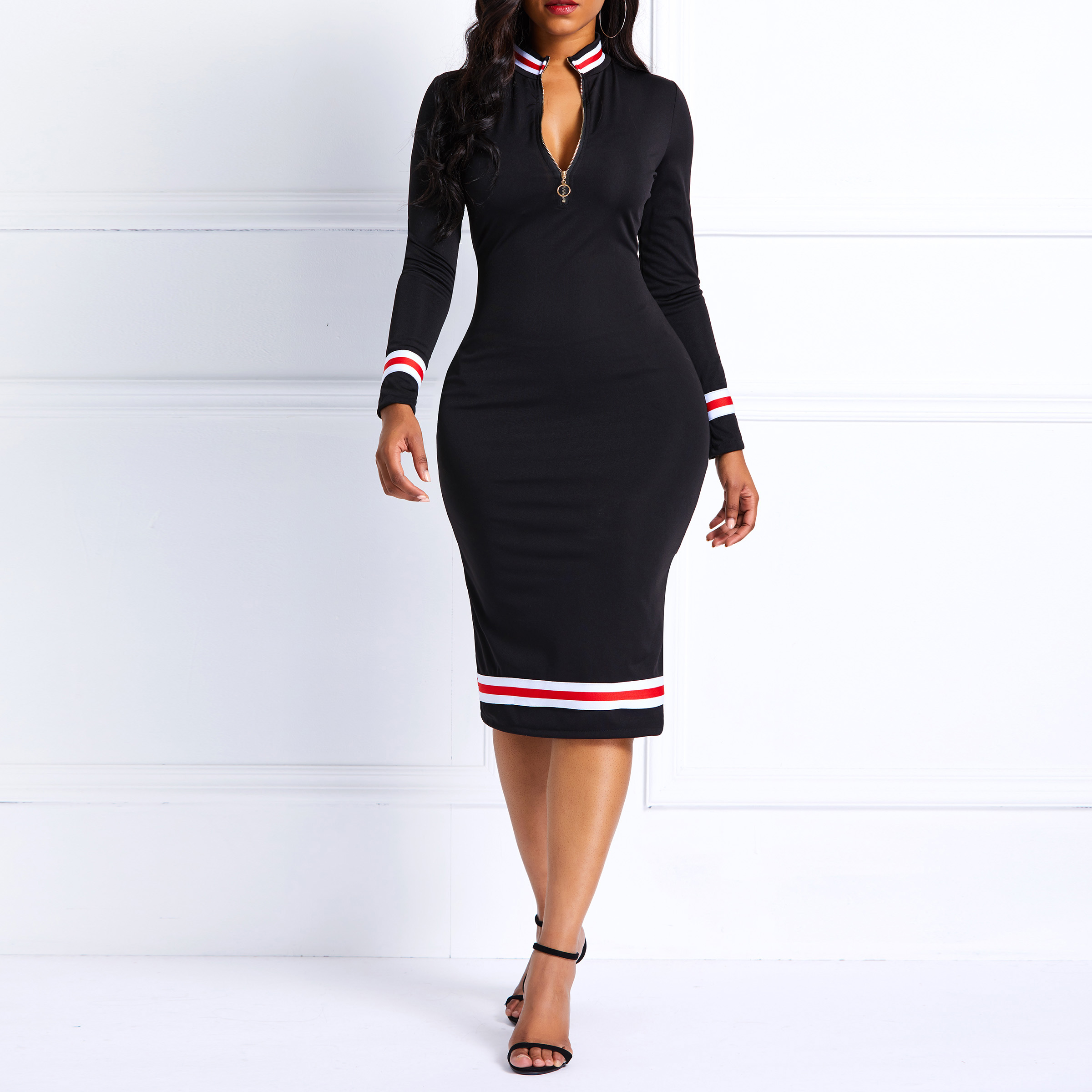Women Bodycon Knee-Length Dresses Elegant Black Sexy Zipper Striped Cocktail Party Dress Casual Spring Long Sleeve Red  Dress