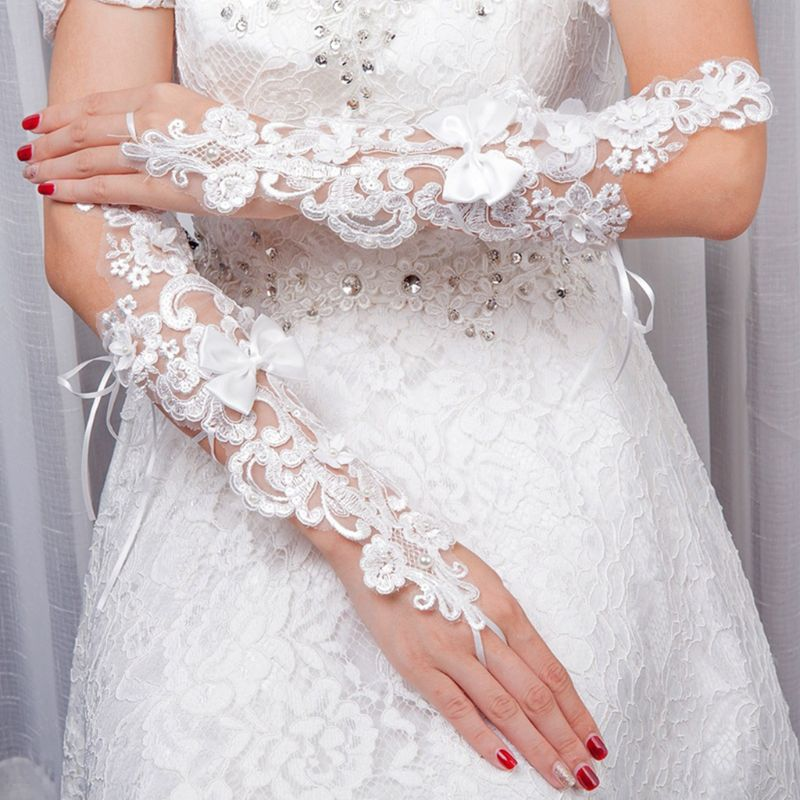 Bridal Embroidery Floral Lace Fingerless Gloves Faux Pearl Bow  Mittens