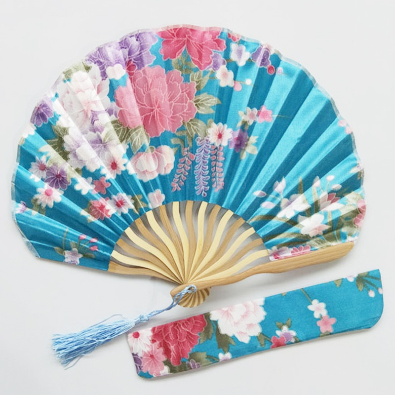 Bamboo Flower Printed Japanese Style Foldable Hand Held Fan Gift Decor