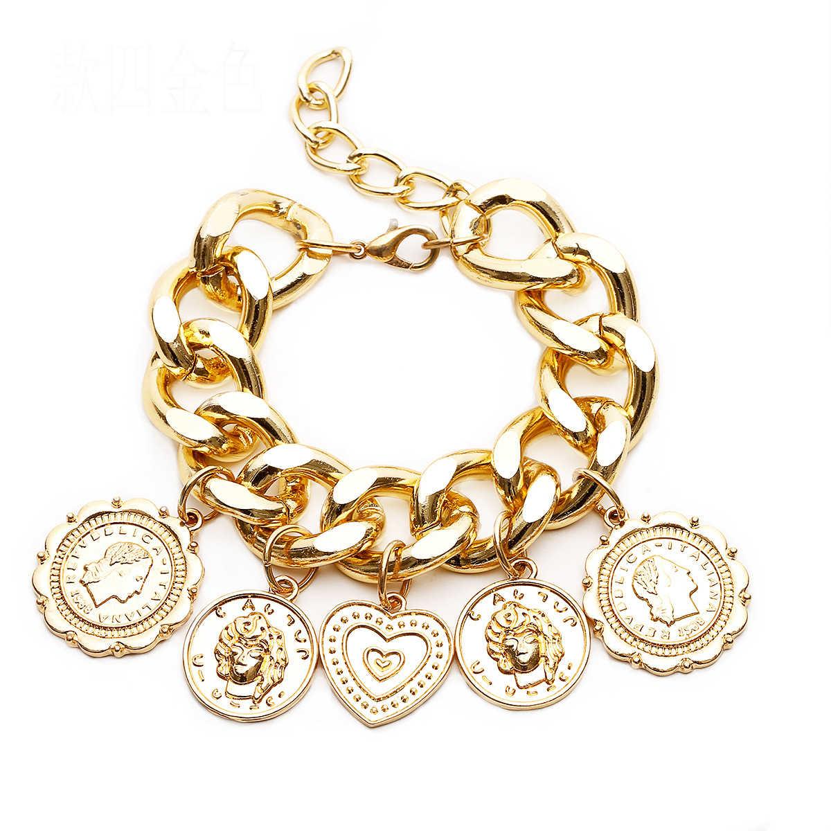 Punk złoty kolor serce monety Charms bransoletki dla kobiet moda długi łańcuszek osobowość Relief portret bransoletki HipHop 2019 Man