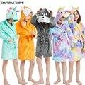 Банный халат с капюшоном для мальчиков и девочек, кигуруми, единорог, мультяшное полотенце, пляжная детская одежда для сна, детская пижама
