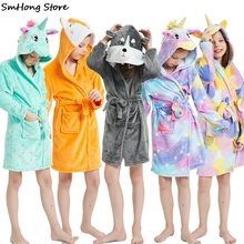 Bathrobe Towel Pyjamas Sleepwear Unicorn Hooded Kigurumi Anime Girls Beach Kids Boys