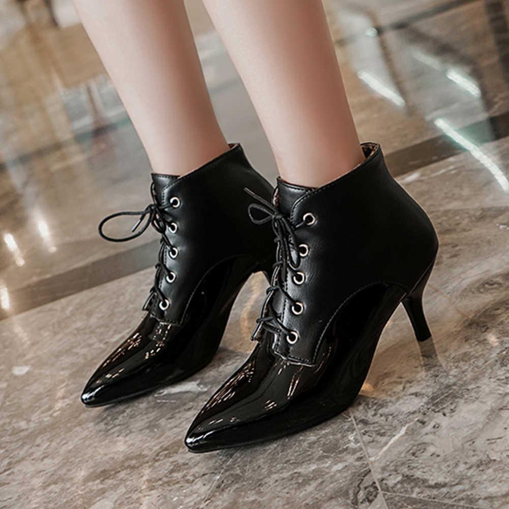KARINLUNA moda bayan zarif ofis çizmeler Lace Up sivri burun karışık renkli yüksek ince topuklu çizmeler kadın kış ayakkabı kadın