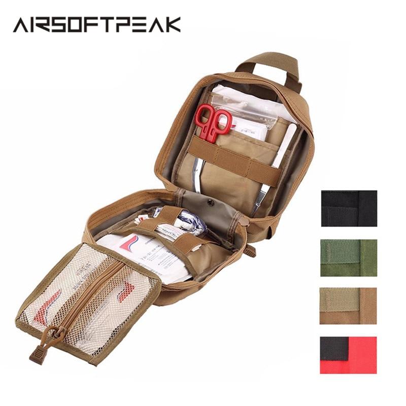 AIRSOFTPEAK tıbbi ilk yardım çantası taktik MOLLE taşınabilir açık seyahat kamp kiti hayatta kalmak çanta kılıfı avcılık acil durum paketi
