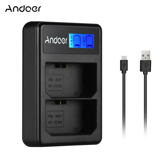 Andoer LCD2 FZ100 LCD Display Dual Channel Camera Battery Charger for Sony NP FZ100 a9 a7RIII a7III Camera Battery Charger