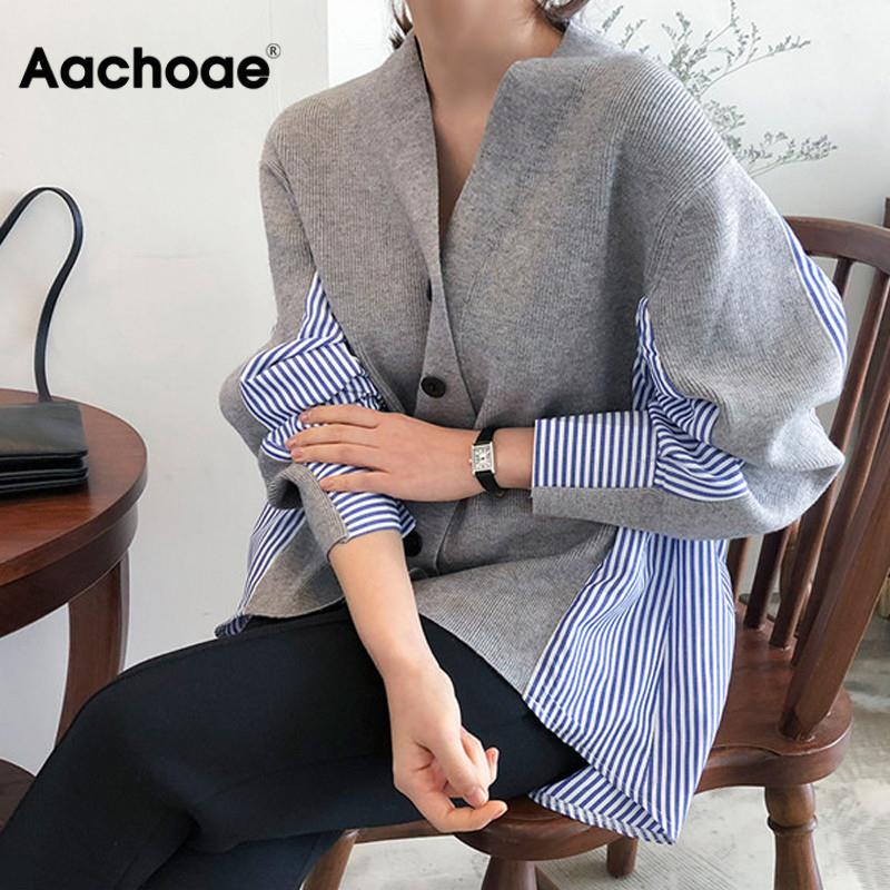 Patchwork Striped Women Sweater Cardigan 2020 Autumn Fashion Loose V Neck Button Cardigan Long Sleeve Knitted Sweater Tunic