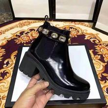 Black Women's Luxury Ankle Boots Women Chelsea Chunky Low Heel Boots Female Platform Shoes Ladies luxury Brand Boots