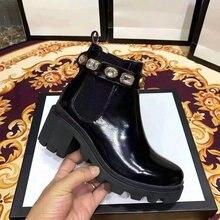 Czarne damskie luksusowe botki damskie Chelsea Chunky buty na niskim obcasie buty damskie na platformie damskie luksusowe buty marki
