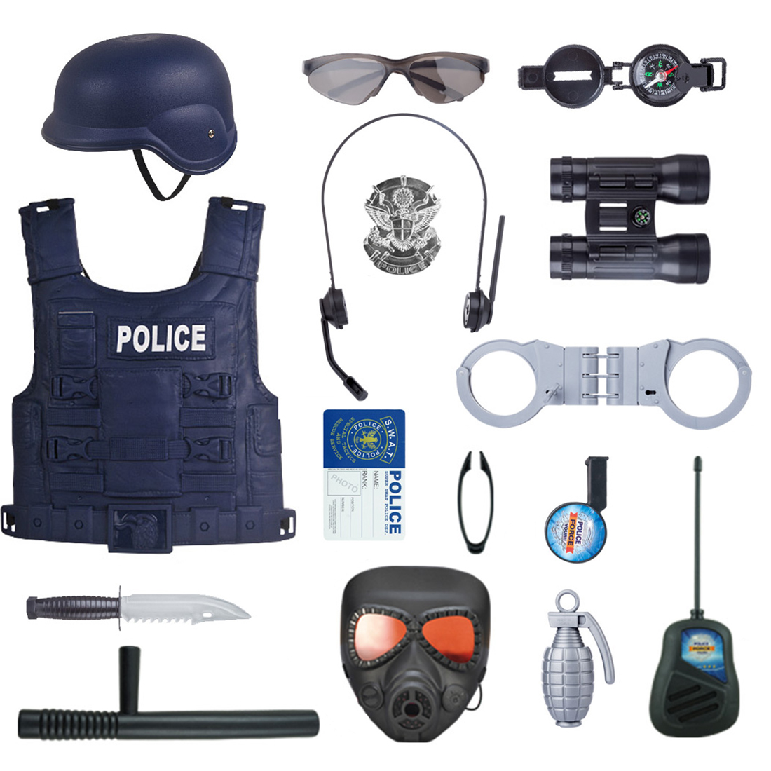 Hot 16Pcs Children Pretend Play Police Officer Props Police Role Play Kit Cop Toy Set For Fancy Dress Role Playing Pretend Toy